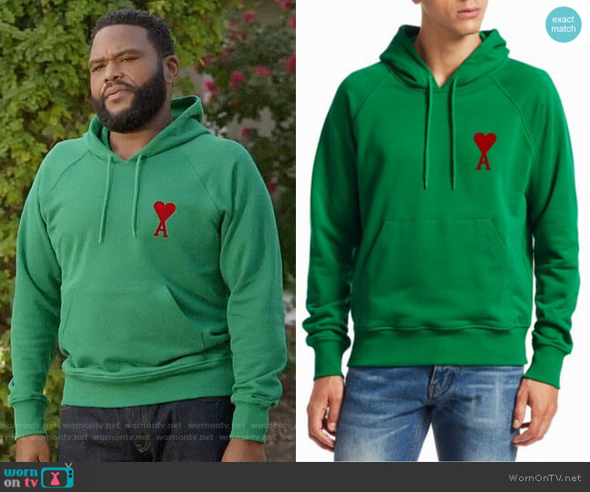 AMI Ami De Couer Hoodie worn by Andre Johnson (Anthony Anderson) on Blackish