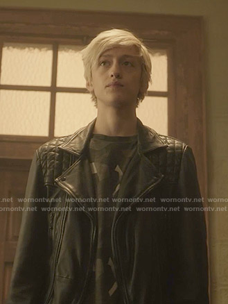 Andy's leather moto jacket on The Gifted