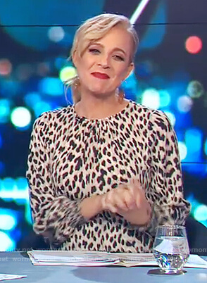 Carrie's leopard print smocked waist dress on The Project