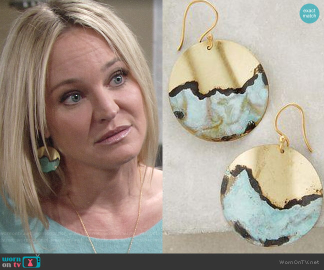 Anthropologie Torquato Earrings worn by Sharon Case on The Young & the Restless
