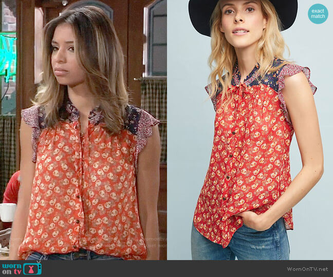 Anthropologie Meadow Rue Prairie Blouse worn by Valerie Spencer (Paulina Bugembe) on General Hospital