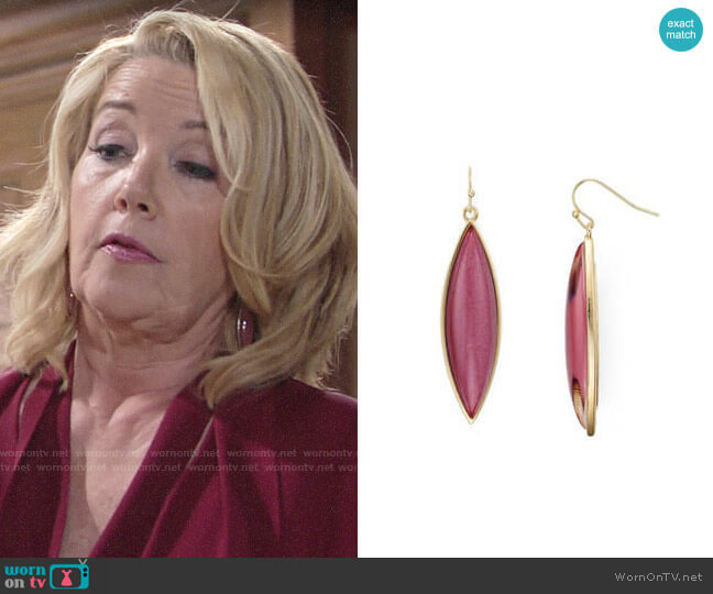 Aqua Brynnie Marquis Drop Earrings worn by Nikki Reed Newman (Melody Thomas-Scott) on The Young & the Restless