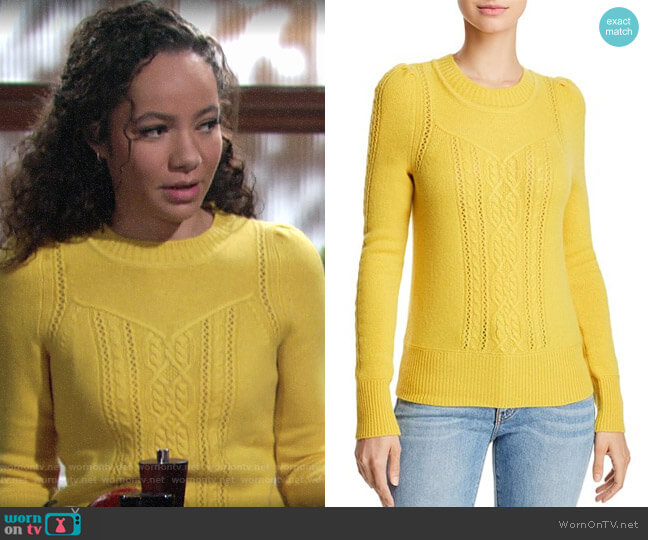 Aqua Mixed Knit Cashmere Sweater in Marigold worn by Mattie Ashby (Lexie Stevenson) on The Young & the Restless