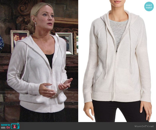 Aqua Zip-Front Cashmere Hoodie worn by Sharon Collins (Sharon Case) on The Young & the Restless
