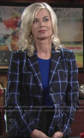 Ashley's black and blue checked blazer on The Young and the Restless
