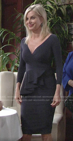 Ashley's navy v-neck peplum dress on The Young and the Restless