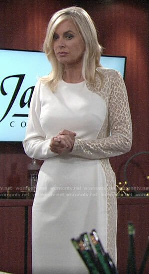 Ashley's white long sleeve dress with gold embroidery on The Young and the Restless