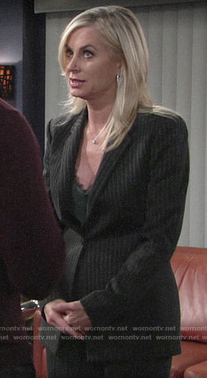 Ashley's pinstripe suit and green lace-trim cami on The Young and the Restless