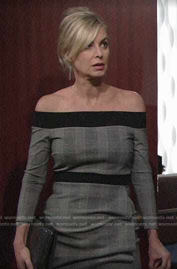 Ashley's grey off-shoulder dress on The Young and the Restless