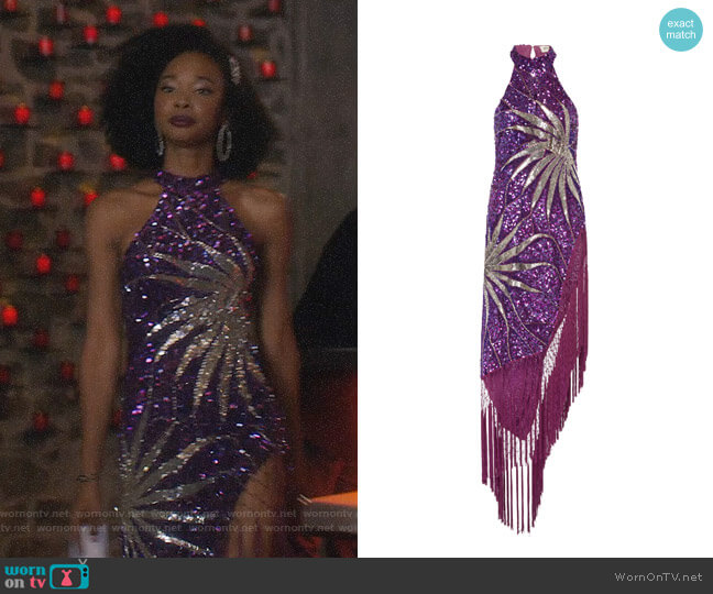 Attico Maxi Fringe Dress worn by Monica Colby (Wakeema Hollis) on Dynasty