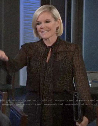 Ava's leopard print tie-neck blouse on General Hospital