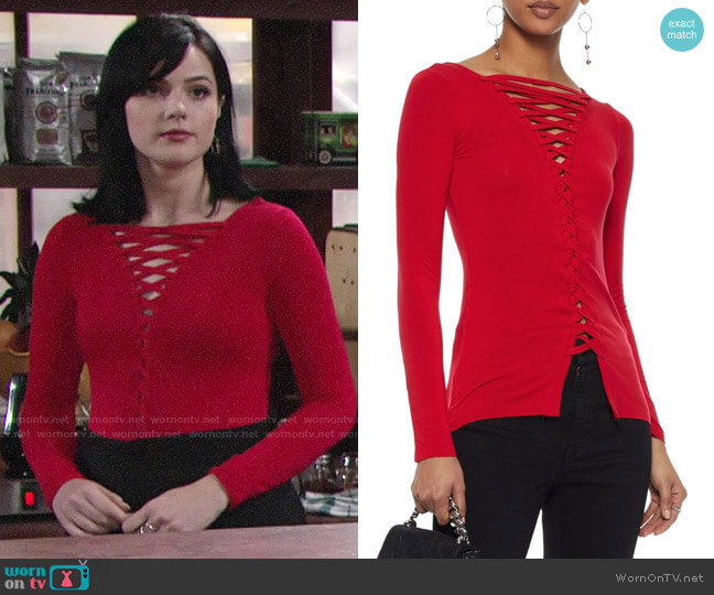 Bailey 44 Kabuki Top worn by Tessa Porter (Cait Fairbanks) on The Young & the Restless