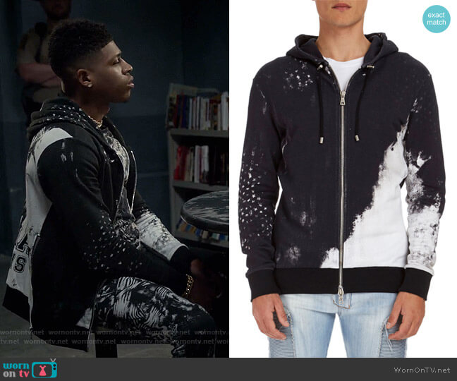 Distressed-Print Zip-Front Hoodie by Balmain worn by Bryshere Y. Gray on Empire