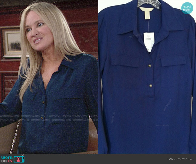 Banana Republic Utility Blouse worn by Sharon Collins (Sharon Case) on The Young & the Restless