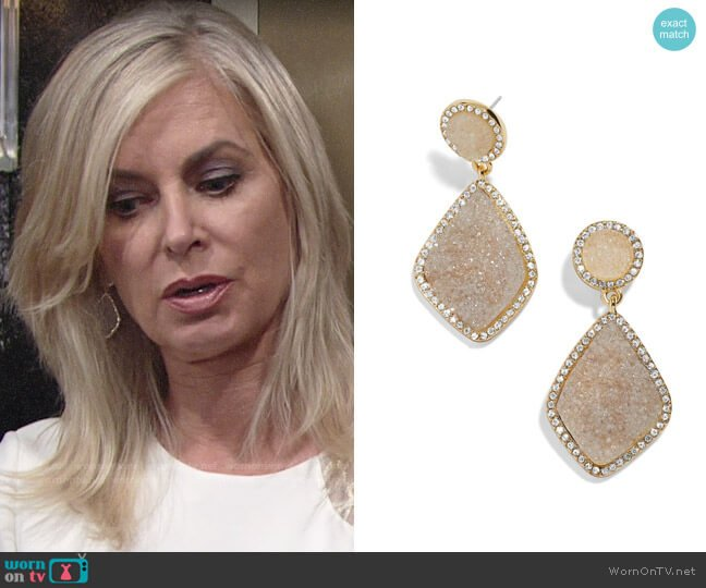 Baublebar Ember Earrings worn by Ashley Abbott (Eileen Davidson) on The Young & the Restless