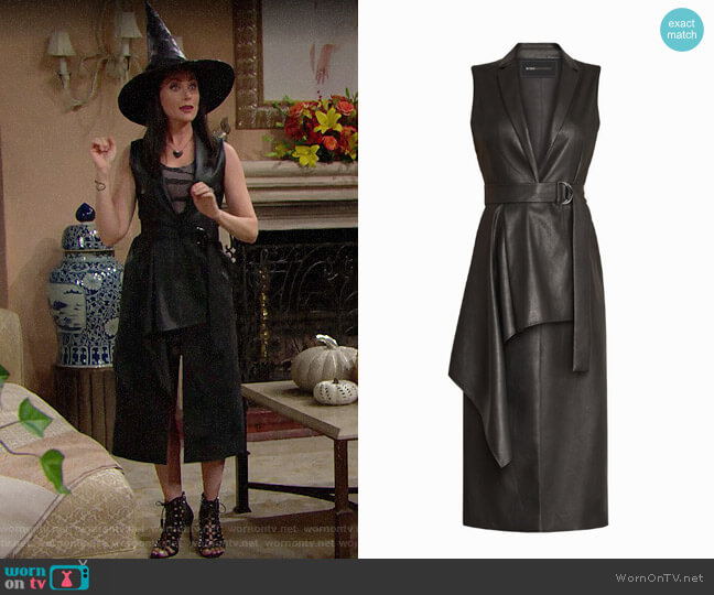 Bcbgmaxazria Faux Leather Drape Front Long Vest worn by Quinn Fuller (Rena Sofer) on The Bold & the Beautiful