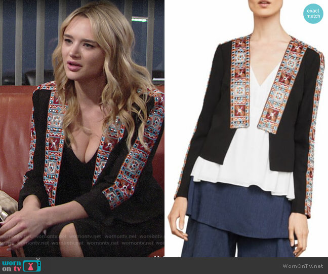 Bcbgmaxazria Embroidered Trim Jacket worn by Summer Newman (Hunter King) on The Young & the Restless