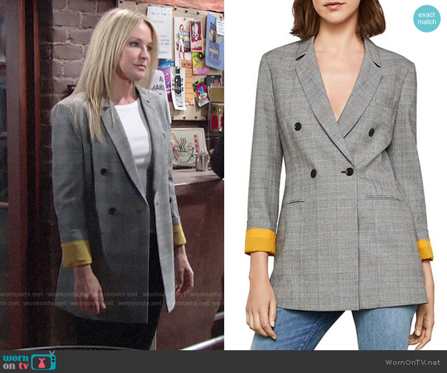 Bcbgmaxazria Glen Plaid Double Breasted Blazer worn by Sharon Case on The Young & the Restless