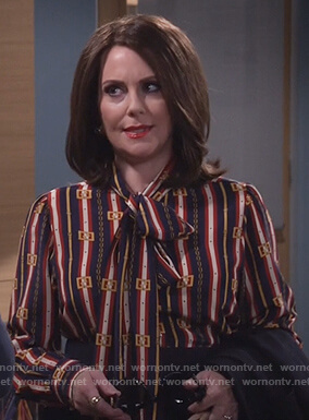 Karen's striped tie neck blouse on Will and Grace