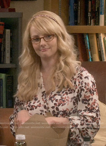 Bernadette's leaf print blouse on The Big Bang Theory