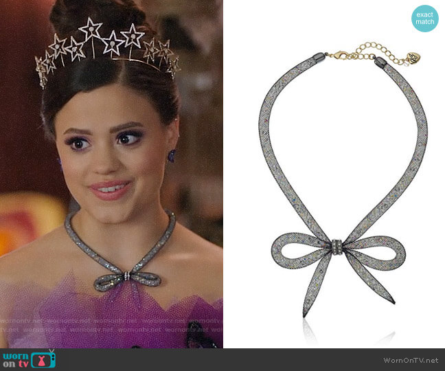 Betsey Johnson Memoirs of Betsey Bow Necklace worn by Sarah Jeffery on Charmed