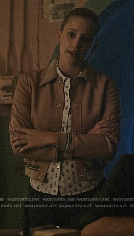 Betty's insect print shirt and pink leather jacket on Riverdale