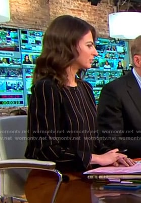 Bianna's black pinstripe top on CBS This Morning