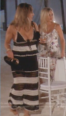 Kelly's black and white crochet knit dress on The Real Housewives of Orange County