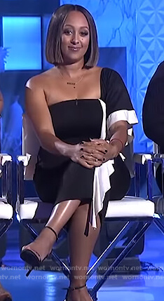 Tamera's black one shoulder ruffle dress on The Real