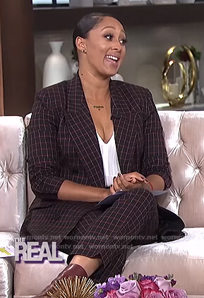 Tamera's black check blazer and pants on The Real