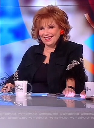 Joy's black feather embellished jacket on The View