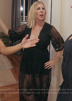 Vicki's black lace deep v-neck romper on The Real Housewives of Orange County