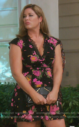 Emily's black floral mini dress on The Real Housewives of Orange County