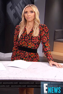 Giuliana's black floral print mini dress on E! News