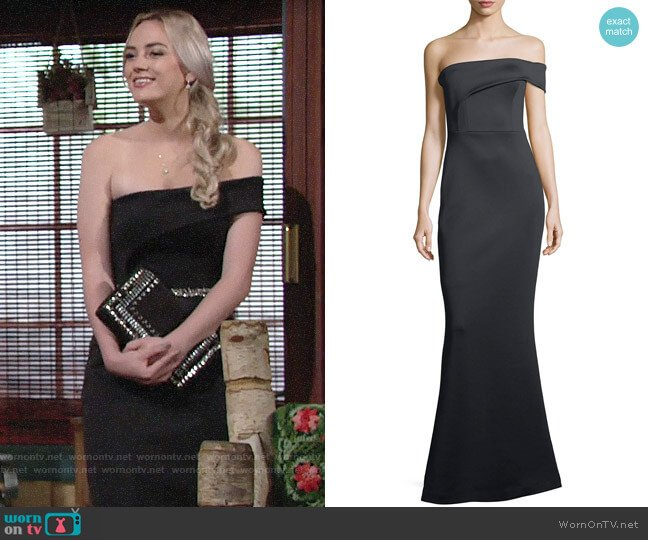Black Halo Neoprene One Shoulder Gown worn by Bayley Corman on The Young & the Restless