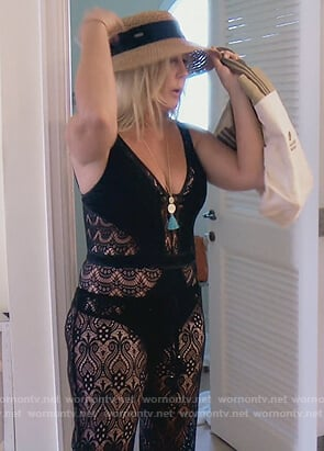 Vicki's black crochet swimsuit on The Real Housewives of Orange County