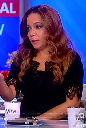 Sunny's black lace v-neck dress on The View