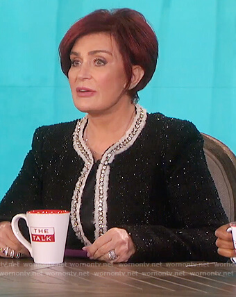 Sharon's black metallic jacket on The Talk