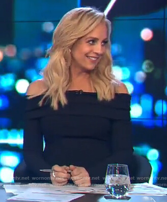 Carrie's black off shoulder long-sleeve dress on The Project