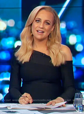 Carrie's black off shoulder folded dress on The Project