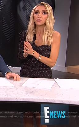 Giuliana's black polka dot one sleeve dress on E! News