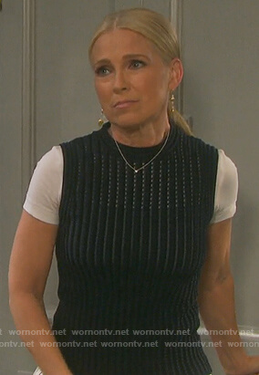 Jennifer's black ribbed top and striped pants on Days of Our Lives