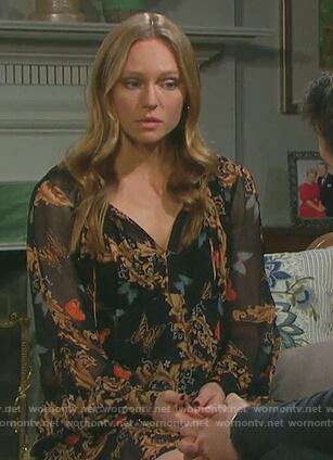 Abigail's black butterfly print dress on Days of Our Lives