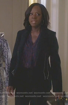 Annalise's navy side stitching blazer on How to Get Away with Murder