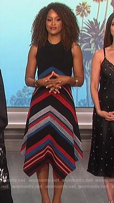 Eve's black chevron stripe dress on The Talk