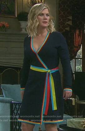 Sami's black contrast wrap dress on Days of Our Lives