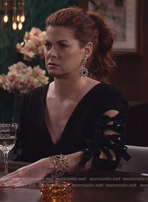 Grace's black bow sleeve dress on Will and Grace