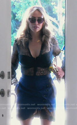 Kelly's blue lace panel button mini dress on The Real Housewives of Orange County