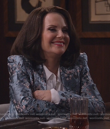 Karen's blue floral blazer on Will and Grace