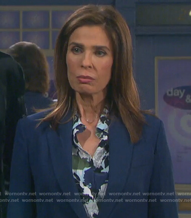 Hope's multi-colored floral silk blouse on Days of Our Lives